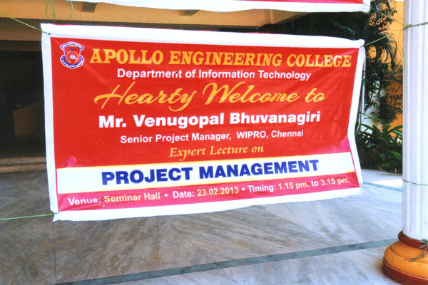 Expert Lecture on 'Project Management', by Mr.Venugopal Bhuvanagiri, Senior Project Manager, Wipro, Chennai, organised by Dept of IT on 23 Feb 2013
