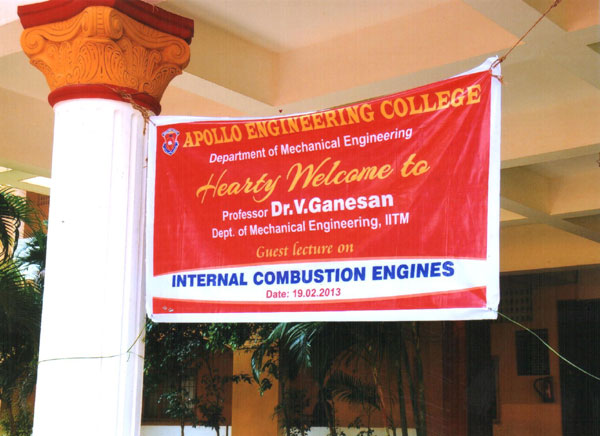 Guest Lecture on 'Internal Combustion Engines' on 19 Feb 2013
