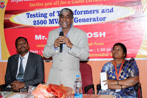 Guest Lecture on 'Testing of Transformers and 2500 MVA SC Generator', on 15 Feb 2014
