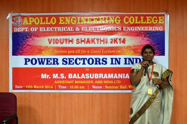 Viduth Shakthi 2014 Organized by EEE Department on 13 Mar 2014