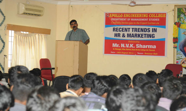 Expert Lecture on 'Recent Trends in HR & Marketing', on 16 August 2014