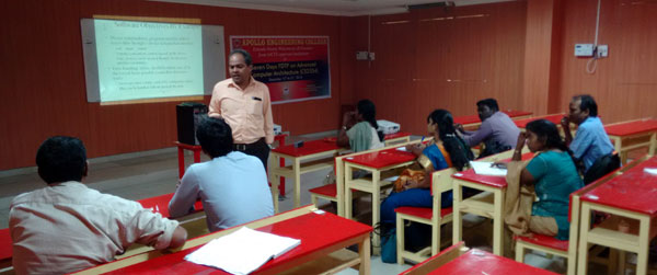 FDP on Advanced Computer Architecture organized by dept CSE, Eminent Professors form IIIT, like  Dr.Masilamani, Dr.Dhananjay Kumar and Industry person Mr.Vinukiran of Technosoft Corporation, on 15 - 21 Dec 2014